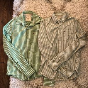 Hollister Lot of 2 Cotton Green and White Striped